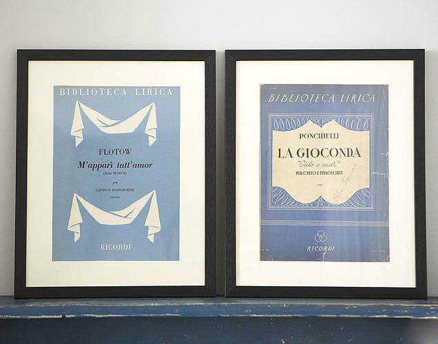 Image of Colporter's Framed Vintage Opera Scores - The Barber of Seville and La Danza