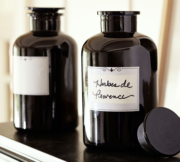 Pottery Barn Glass Apothecary Jar With Labels