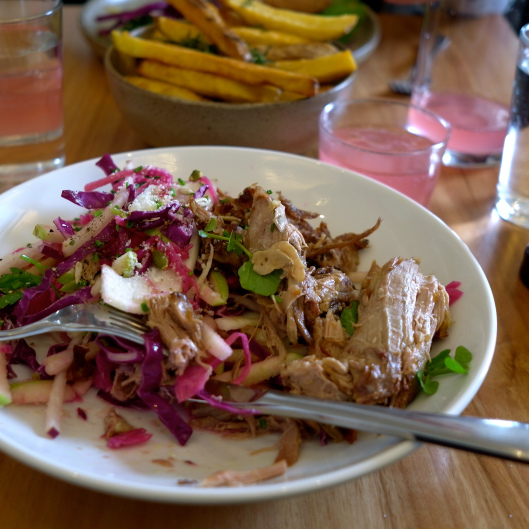 Twelve hour pork, fennel, sharp cabbage, apple, kohl rabi, parmesan (Image by TSL)