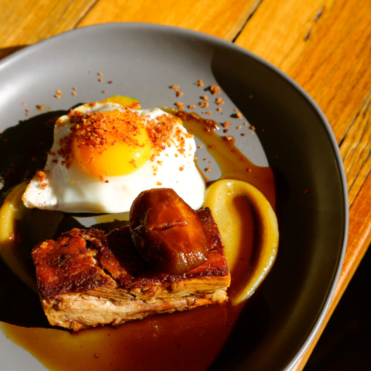 Slow cooked pork with apple, brussell sprouts, chilli, honey and fried egg (Image by LM for TSL)