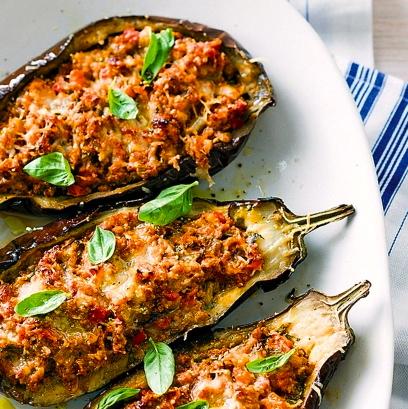 Bolognese-stuffed Eggplant