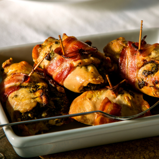 Bacon-Wrapped Chicken Thighs Stuffed with 'Knock Their Socks Off' Salsa Verde