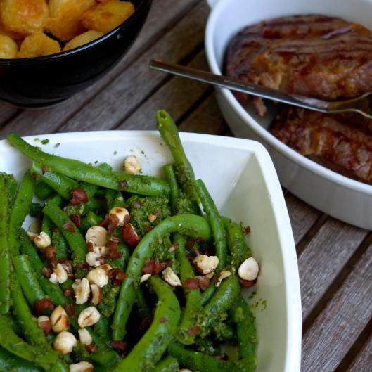 Green Beans with Sorrel Pesto & Roasted Hazelnuts