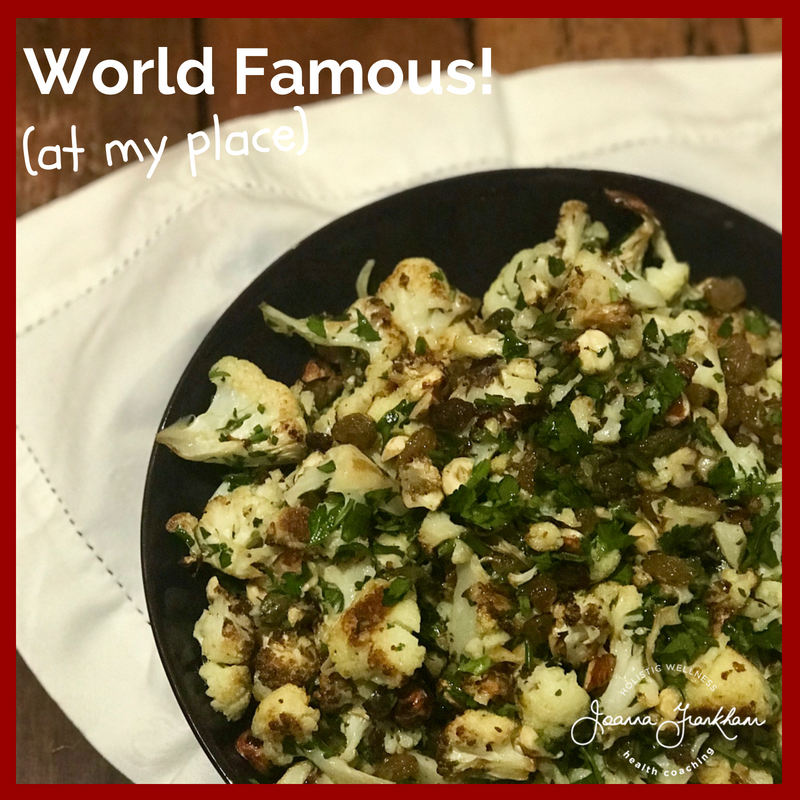 World FAMOUS Roasted Cauliflower Salad with Sultanas, Capers and Hazelnuts
