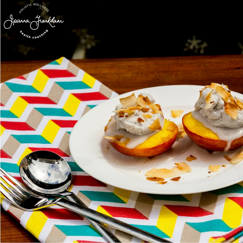 JFC Dairy Free Baked Nectarines with Whipped Cream