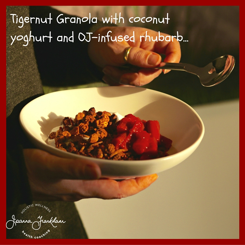 AIP Granola with Stewed Rhubarb and Coconut Yoghurt