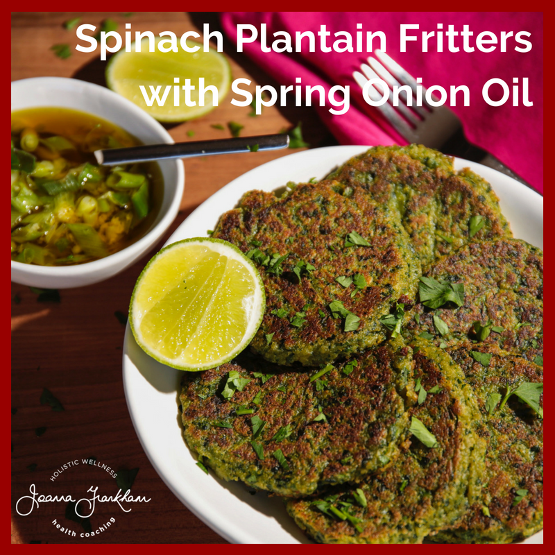 JFC Spinach Platain Fritters with Spring Onion Oil